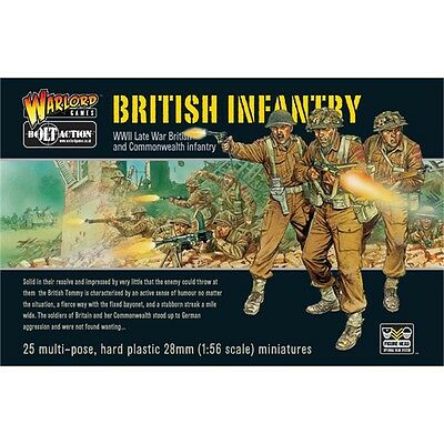 Pack Of 25 British Infantry Miniatures - Warlord Games Bolt Action World War 2