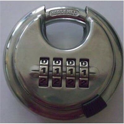 4 Digit Combination Discus Padlock - 70mm Dial Disc Security Stainless Steel