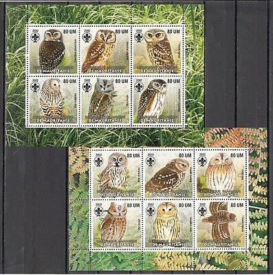 """ Mauritania, 2002 issue. Owls on 2 sheets. Scout logo in design. #1"