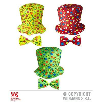 Adult's Clown Top Hat & Bow Tie - & Green Red Yellow Adults Fancy Dress Costume
