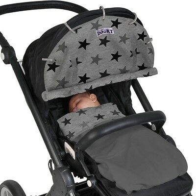 Dooky Shade Design Grey Stars - Pushchair Pram Sun Baby Cover Universal Car