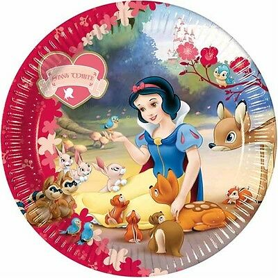 10 Large Plates 23cm Snow White Paper For Parties - Party Childrens Fun Food