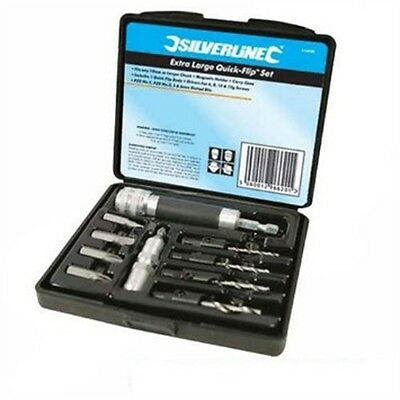10 Piece Driving Screwdriver Bit Set - Silverline 534741 Extra Large Quick-flip
