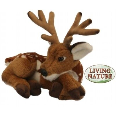 Deer With Antlers Soft Toy Animal - Living Nature Novelty Cuddly Stocking