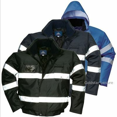 Waterproof Iona Lite Bomber Jacket Coat Reflective Hooded Knitted Cuffs Workwear