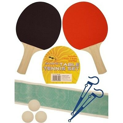 Table Tennis Bat Balls And Net - Ping Pong Set 2 Wooden Bats, 3 , Clamps & Small