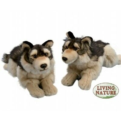 Large Wolf Soft Toy Animal - Living Nature Cute Novelty Cuddly Stocking Filler