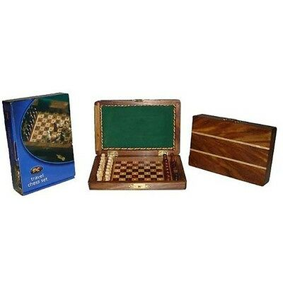 6x4 Inch Pegged Travel Wooden Chess Set - Games Game Family Fun Play