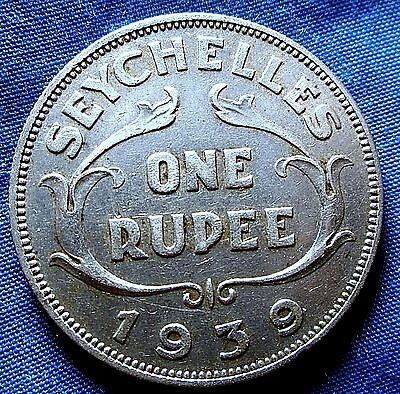1939 Seychelles One Rupee  Key Date  British Colonial Coin A13-674