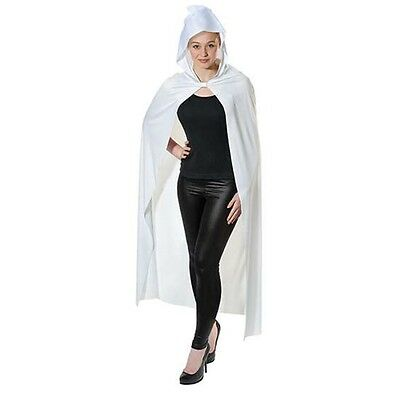 White Adult's Long Hooded Cape - Vampire Halloween Fancy Dress - One Size Fits