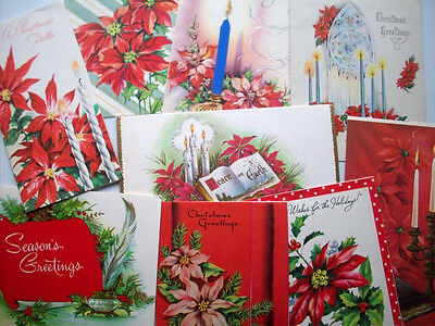 Lot of 9 poinsettia  vintage christmas greeting cards L13