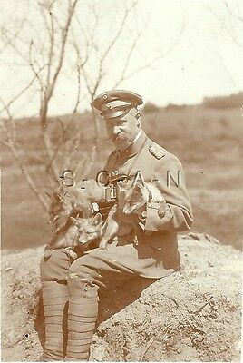 WWI German Large RPPC- Soldier- Officer- Uniform- Hat- Pet Dogs or Foxes
