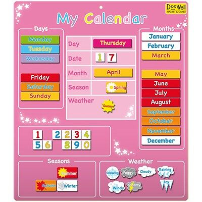 Pink My Magnetic Calender - - Activities & Games Fiesta Crafts Kids Learning Toy