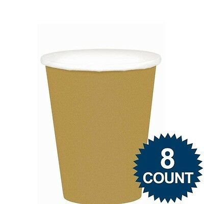 Amscan International 266ml Paper Cups Gold, Pack Of 8