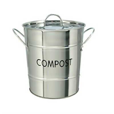 Stainless Steel Compost Pail - Silver Odour Beating Caddy Kitchen Food Waste Bin
