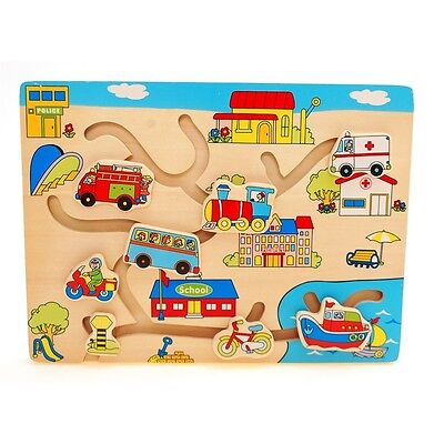 Wooden Match The Head Vehicles Puzzle