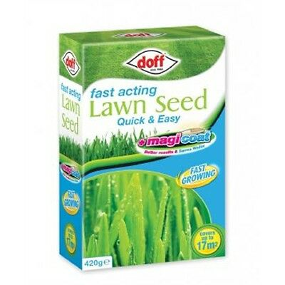 Doff Fast Acting Magicoat Lawn Seed - 420g Grass Growing Gardening Accessory