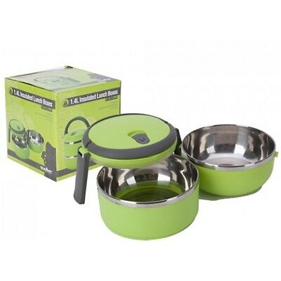 0.7l Green Grey 2 Piece Lunch Box Set - Insulated Food Carrier 1.4l Trek