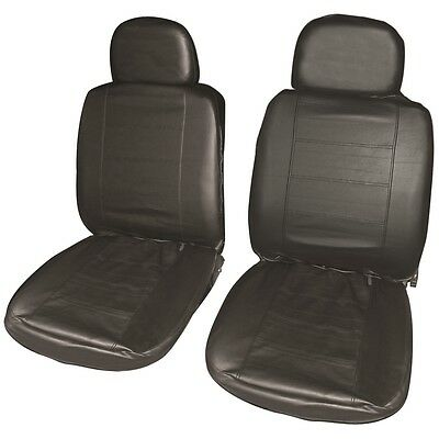 Pair Of Black Leather Look Front Seat Cover - Covers Chair Car Protector
