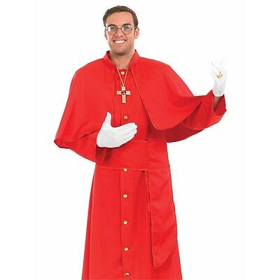 Large Red Men's Cardinal Costume - Adults Mens Religious Pope Priest Fancy