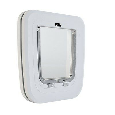 White Glass & Wood Classic Pet Door Cat Flap - & Corp Care Accessory