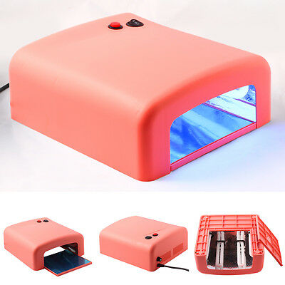 Pink 36W UV Lamp Light Nail Dryer Gel Curing Timer with 4 x 9W Blubs