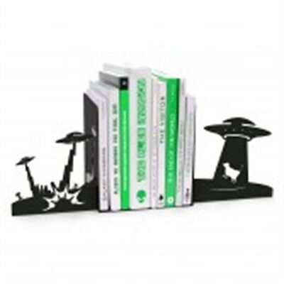 Alien Invasion Novelty Bookends - Mustard Pair Of Fun Metal Perfect Gift