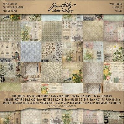 """12"""" x 12"""" Wallflower Paper Stash - Idea-ology Pad Card 12"""" 12"""" Packet Of 36"""