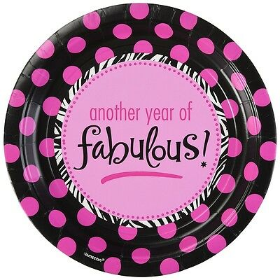 Amscan International Oh So Fabulous Paper Plates 22.8cm Another Year Of