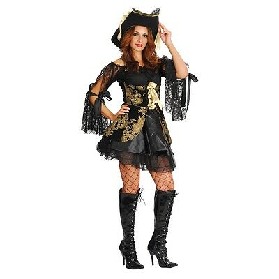 Women's Glamorous Pirate Costume - Fancy Dress Halloween Party Black Ladies