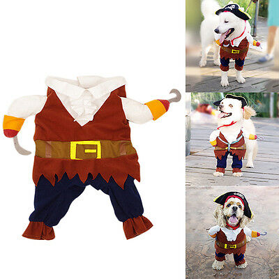 Pet Small Dog Cat Pirate Costume Outfit Jumpsuit Cloth for Halloween Christmas A