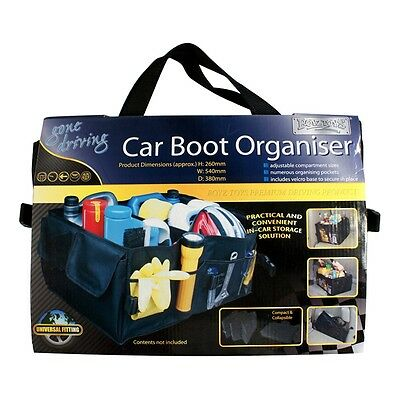 Car Boot Organiser - Compact Storage Tidy Collapsible Travel Pockets Bag