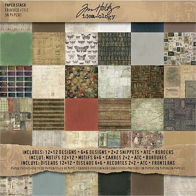 """12"""" x 12"""" Crowded Attic Paper Stash - Idea-ology Pad Card 12"""" 12"""" Packet Of 36"""