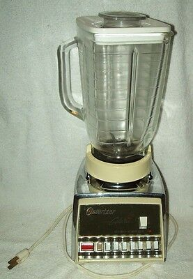 Vintage Chrome Osterizer Blender with Glass Jar Galaxie Dual Range 14 Oster
