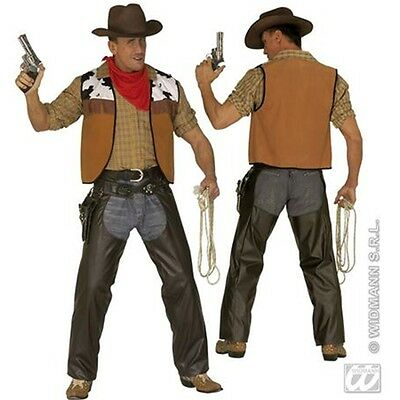 Extra Large Adult's Brown Cowboy Chaps - Mens Leather Fancy Dress Costume