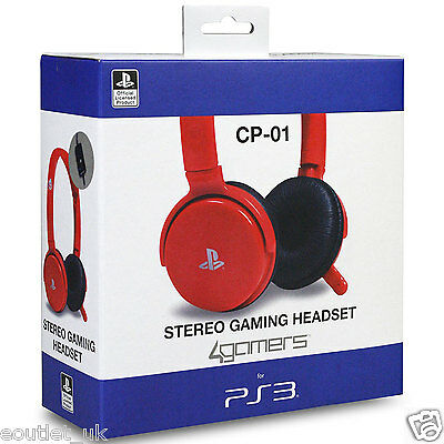 Playstation 3 Officially Licensed CP-01 Stereo Gaming Chat Headset PS3 - Red NEW