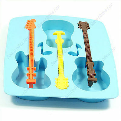 Silicone Guitar Shaped Cube Trays Ice Candy Mold Maker Hot