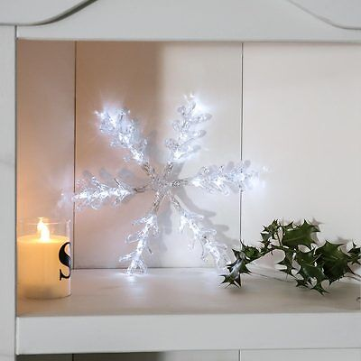 16 Led Indoor Battery Operated Christmas Tree Snowflake Decoration 30Cm Light