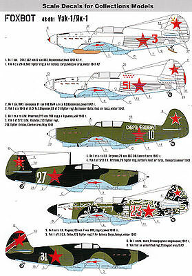 FO48001/ Foxbot Decals - Yakovlev Yak-1 - 1/48 - TOPP DECALS