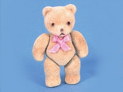 Dolls House 12th scale Flock Teddy Bear - Pink Bow