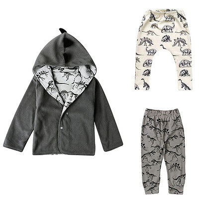 Infant Kids Baby Dinosaur Print Harem Pants Trousers Leggings Bottom + Tops Coat