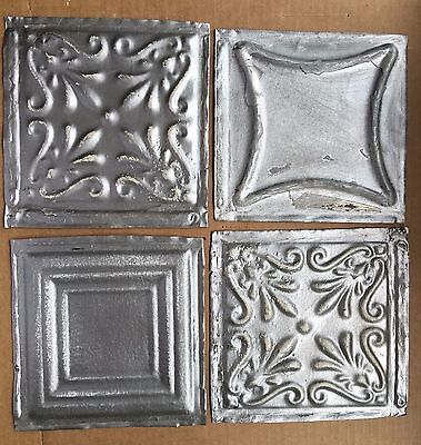 "1890's Reclaimed Antique Tin Ceiling Tiles 4- 6"" x 6"" Silver B54 Anniversary"