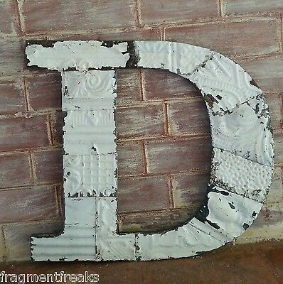 "Large Antique Tin Ceiling Wrapped 16"" Letter 'D' Patchwork Metal Chic White T9"