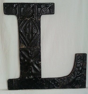 "Large Antique Tin Ceiling Wrapped 16"" Letter 'L' Patchwork Metal Mosaic Black"