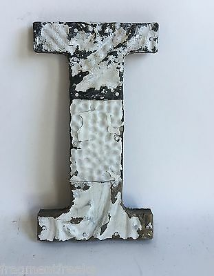 "Antique Tin Ceiling Wrapped 8"" Letter ""I"" Patchwork Metal Mosaic White E1"