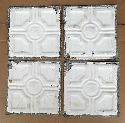 "1890's Reclaimed Antique Tin Ceiling Tiles 4- 6"" x 6"" Ivory Shabby B51 Metal"