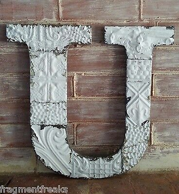 "Large Antique Tin Ceiling Wrapped 16"" Letter 'U' Patchwork Metal White L5"