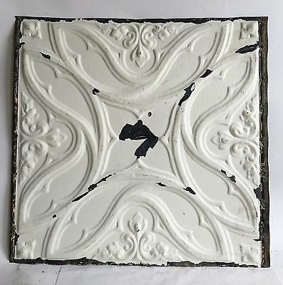 """1890's 24"""" x 24"""" Antique Reclaimed Tin Ceiling Tile White C38a Metal Anniversary"""