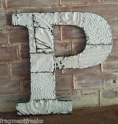 "Large Antique Tin Ceiling Wrapped 16"" Letter 'P' Patchwork Metal Chic White G2"