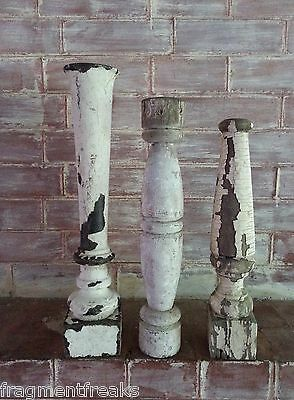 Three Reclaimed Wood Candle Stands Shabby Paint Chic Whites A3 Balusters